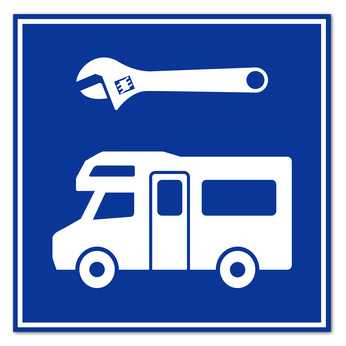 Wohnmobi-Reparatur-Schild von Kfz-Janssen für Leer (Ostfriesland) und das Emsland.